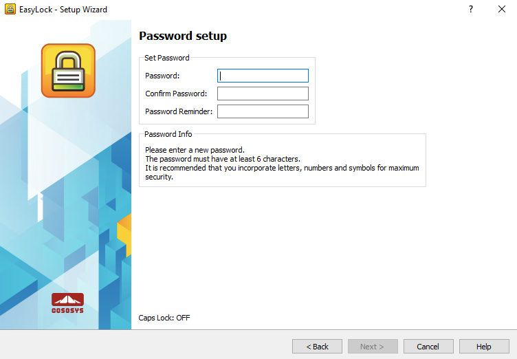 EasyLock - Password Setup