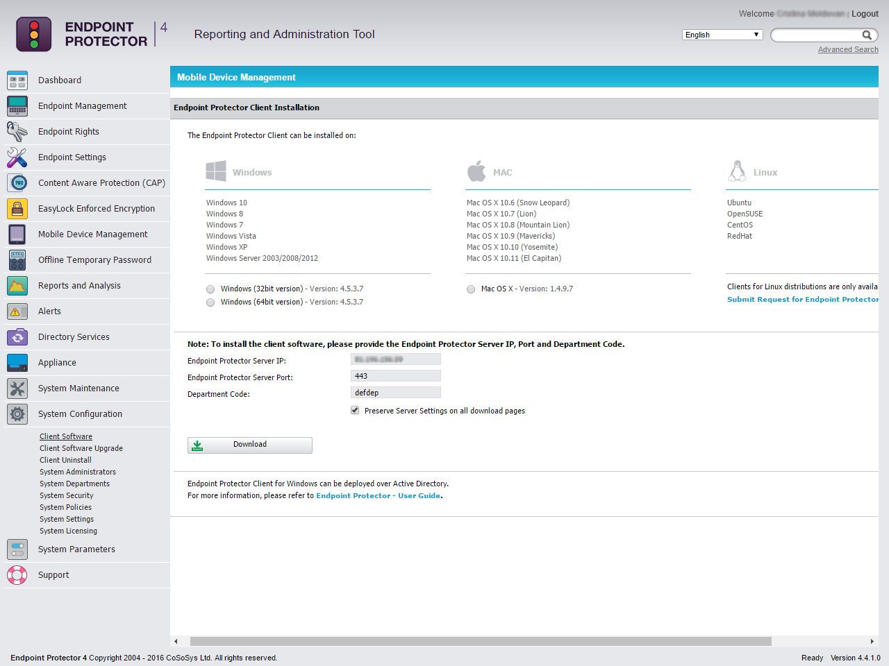 Endpoint Protector 4 - Client Software